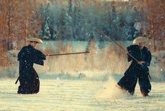 Guerreiro na paisagem da neve fotografia de stock