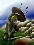 Guerreiro novo de viquingue que protege-se do inimigo Imagens de Stock