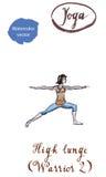 Guerreiro praticando po de Virabhadrasana dois do asana da ioga da jovem mulher ilustração stock