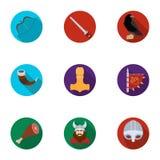 Guerreiros antigos dos Viquingues no navio Equipamento e símbolos dos Viquingues Ícone de Viquingues na coleção do grupo no plano Fotos de Stock