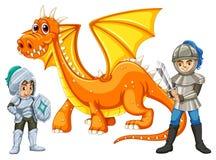 Guerreiros com um dragão Foto de Stock Royalty Free