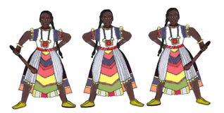 Guerreiros de Senegal dos tribos com roupa tradicional ilustração do vetor