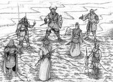 Guerreiros do mundo ilustração stock