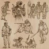 Guerreiros e soldados - vetores tirados mão Foto de Stock