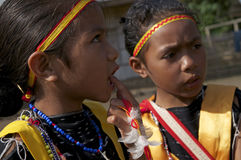 Guerreiros que dançam na roupa tradicional Flores Indonésia Fotografia de Stock