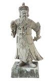 Guerrero chino de piedra en el templo Foto de archivo