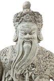 Guerrero chino de piedra en el templo Fotos de archivo libres de regalías