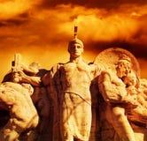 Guerrero con una estatua de la espada Fotografía de archivo libre de regalías