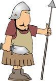Guerrero con una lanza y una espada Imágenes de archivo libres de regalías
