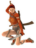Guerrero de la mujer con las espadas Imágenes de archivo libres de regalías