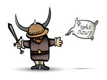 Guerrero de vikingo de la historieta con la espada Fotos de archivo