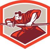 Guerrero del samurai que dibuja a Katana Sword Shield Fotografía de archivo
