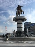 Guerrero en un caballo, Skopje, Macedonia Fotos de archivo libres de regalías