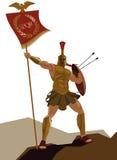Guerrero espartano con la armadura y con la bandera que sostiene una espada Fotos de archivo libres de regalías