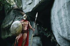 Guerrero espartano en el bosque Fotografía de archivo