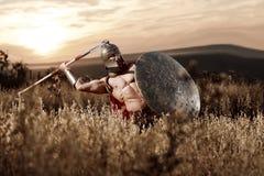 Guerrero espartano fuerte en vestido de batalla con un escudo y una lanza Imagen de archivo libre de regalías