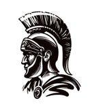 Guerrero espartano, gladiador o soldado romano Ilustración del vector Foto de archivo libre de regalías