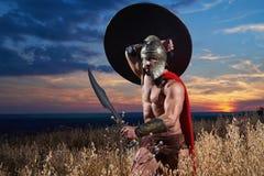 Guerrero espartano joven audaz que presenta en el campo Fotos de archivo libres de regalías