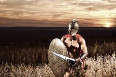 Guerrero espartano joven audaz que presenta en el campo Imágenes de archivo libres de regalías