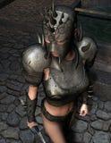 Guerrero femenino en armadura Imágenes de archivo libres de regalías