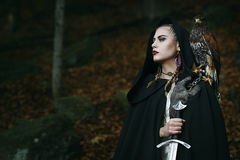 Guerrero femenino orgulloso con el halcón Imagenes de archivo