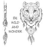 Guerrero indio del tigre, ejemplo dibujado mano animal, cartel del nativo americano Tienda extrema del deporte Imagen de archivo libre de regalías