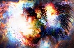 Guerrero indio joven hermoso en espacio cósmico collage de la pintura Fotos de archivo libres de regalías