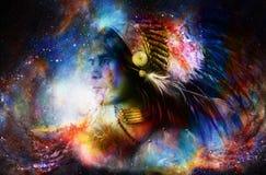 Guerrero indio joven hermoso en espacio cósmico collage de la pintura Imagen de archivo