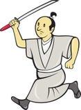 Guerrero japonés del samurai con la espada Imagenes de archivo