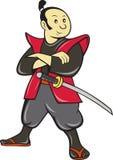 Guerrero japonés del samurai con la espada Foto de archivo