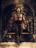 Guerrero masculino en un pasillo del castillo ilustración del vector
