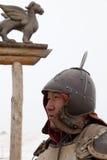 Guerrero mongol en casco Fotos de archivo libres de regalías