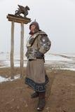 Guerrero mongol vestido en armadura Fotos de archivo libres de regalías