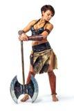 Guerrero - mujer con un hacha Foto de archivo libre de regalías