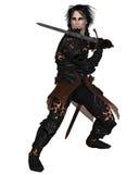 Guerrero oscuro que sostiene una espada Imagen de archivo libre de regalías