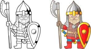 Guerrero ruso divertido, medieval, libro de colorear stock de ilustración