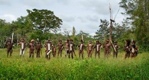 Guerreros de una tribu del Papuan Foto de archivo libre de regalías