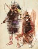 Guerreros del samurai Un ejemplo dibujado mano Dibujo a pulso, stock de ilustración