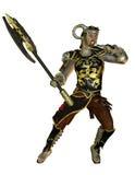 Guerreros en armadura y hacha de la batalla Imagen de archivo