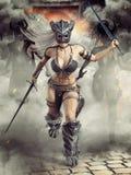 Guerreros femeninos bárbaros armados feroces que encargan en batalla allí del líder en frente ilustración del vector
