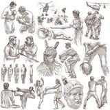 Guerreros, héroes, soldados Paquete en el blanco, aislado Drawin de la mano Imagen de archivo