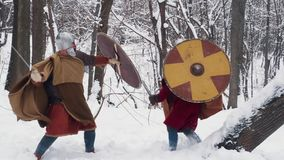 Guerreros irlandeses y frankish medievales en armadura que luchan en un bosque del invierno con las espadas y los escudos almacen de metraje de vídeo