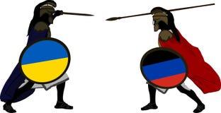 Guerreros ucranianos y favorable-rusos Imagen de archivo libre de regalías