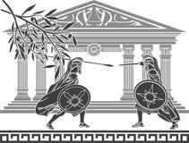 Guerreros y templo griegos Fotografía de archivo