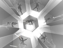 guerrier 3D dans la pièce argentée de miroir Image libre de droits