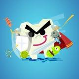 Guerrier de dent tenant l'épée d'american national standard de bouclier pour combattre les bactéries orales dedans Photographie stock