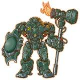 Guerrier de robot avec le bouclier et le marteau illustration de vecteur