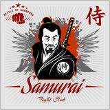 Guerrier de samouraï avec l'épée de katana Photos stock