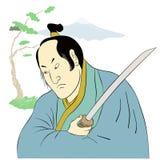 Guerrier de samouraï avec la position de combat d'épée de katana Images stock