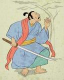 Guerrier de samouraï avec la position de combat d'épée de katana Image libre de droits